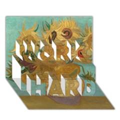Vincent Willem Van Gogh, Dutch   Sunflowers   Google Art Project WORK HARD 3D Greeting Card (7x5)