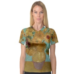 Vincent Willem Van Gogh, Dutch   Sunflowers   Google Art Project Women s V Neck Sport Mesh Tee