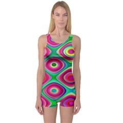 Psychedelic Checker Board Women s Boyleg One Piece Swimsuits