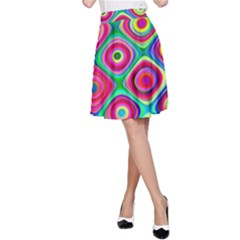 Psychedelic Checker Board A-Line Skirts