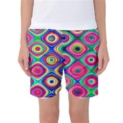 Psychedelic Checker Board Women s Basketball Shorts