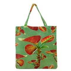 Tropical Floral Print Grocery Tote Bags