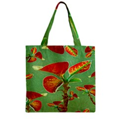 Tropical Floral Print Zipper Grocery Tote Bags