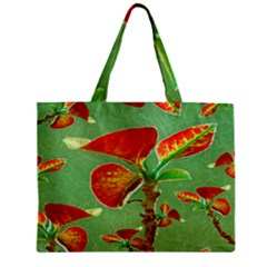 Tropical Floral Print Zipper Tiny Tote Bags