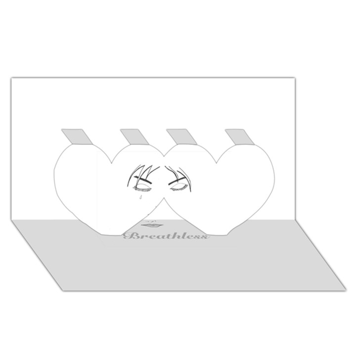 Breathless Twin Hearts 3D Greeting Card (8x4)