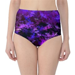 Purple Skulls Goth Storm High-Waist Bikini Bottoms