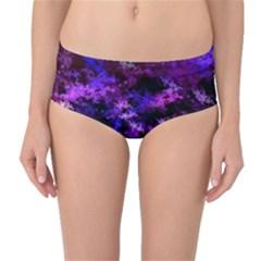 Purple Skulls Goth Storm Mid-Waist Bikini Bottoms