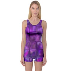 Purple Square Tiles Design Women s Boyleg One Piece Swimsuits