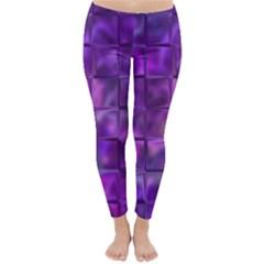 Purple Square Tiles Design Winter Leggings