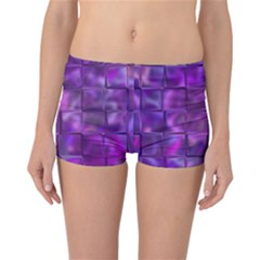 Purple Square Tiles Design Reversible Boyleg Bikini Bottoms