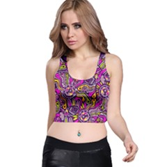 Purple Tribal Abstract Fish Racer Back Crop Tops