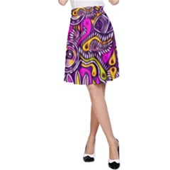 Purple Tribal Abstract Fish A-Line Skirts
