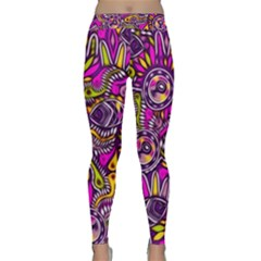 Purple Tribal Abstract Fish Yoga Leggings
