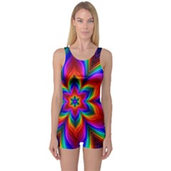 Rainbow Flower Women s Boyleg One Piece Swimsuits