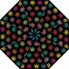 Cannabis Leaf Multi Col Pattern Hook Handle Umbrellas (Large)