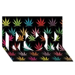 Cannabis Leaf Multi Col Pattern MOM 3D Greeting Card (8x4)