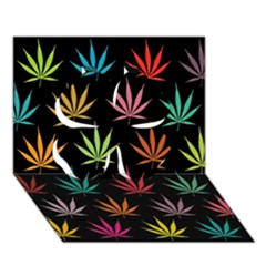 Cannabis Leaf Multi Col Pattern Clover 3D Greeting Card (7x5)