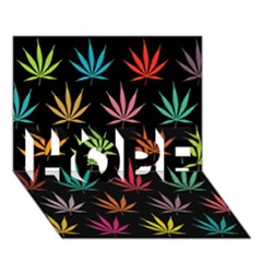 Cannabis Leaf Multi Col Pattern HOPE 3D Greeting Card (7x5)