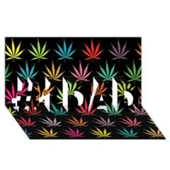 Cannabis Leaf Multi Col Pattern #1 DAD 3D Greeting Card (8x4)