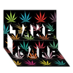 Cannabis Leaf Multi Col Pattern TAKE CARE 3D Greeting Card (7x5)