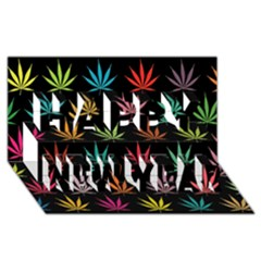 Cannabis Leaf Multi Col Pattern Happy New Year 3d Greeting Card (8x4)