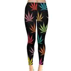 Cannabis Leaf Multi Col Pattern Women s Leggings