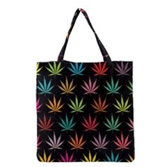 Cannabis Leaf Multi Col Pattern Grocery Tote Bags