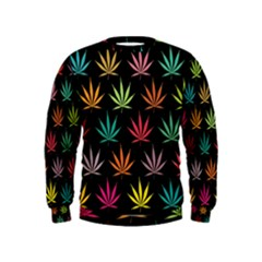 Cannabis Leaf Multi Col Pattern Boys  Sweatshirts