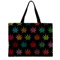 Cannabis Leaf Multi Col Pattern Zipper Tiny Tote Bags