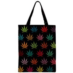 Cannabis Leaf Multi Col Pattern Zipper Classic Tote Bags