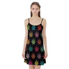 Cannabis Leaf Multi Col Pattern Satin Night Slip