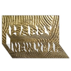 Brushed Gold 050549 Happy New Year 3D Greeting Card (8x4)