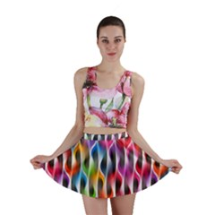 Rainbow Psychedelic Waves  Mini Skirts