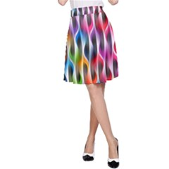 Rainbow Psychedelic Waves  A-Line Skirts