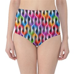 Rainbow Psychedelic Waves  High-Waist Bikini Bottoms