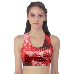 Red Fractal Lace Sports Bra