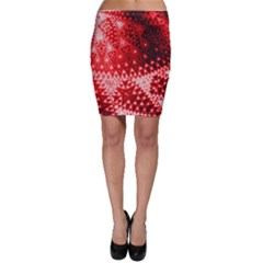Red Fractal Lace Bodycon Skirts