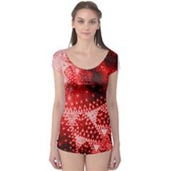 Red Fractal Lace Short Sleeve Leotard