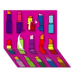 Lipsticks Pattern Apple 3D Greeting Card (7x5)