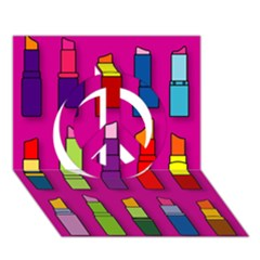 Lipsticks Pattern Peace Sign 3D Greeting Card (7x5)