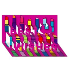 Lipsticks Pattern Best Wish 3D Greeting Card (8x4)