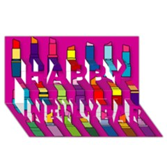 Lipsticks Pattern Happy New Year 3d Greeting Card (8x4)
