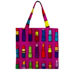 Lipsticks Pattern Zipper Grocery Tote Bags