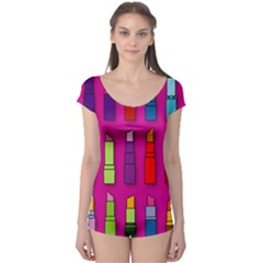 Lipsticks Pattern Short Sleeve Leotard