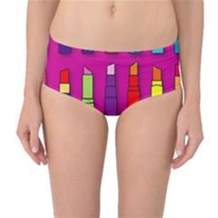 Lipsticks Pattern Mid Waist Bikini Bottoms
