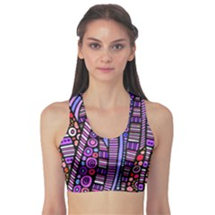 Stained Glass Tribal Pattern Sports Bra