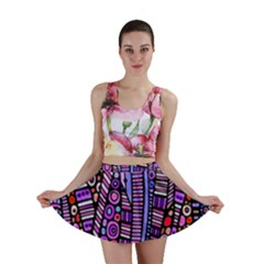 Stained Glass Tribal Pattern Mini Skirts