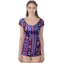 Stained Glass Tribal Pattern Short Sleeve Leotard