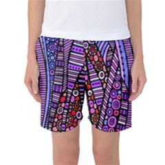 Stained glass tribal pattern Women s Basketball Shorts
