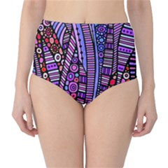 Stained Glass Tribal Pattern High Waist Bikini Bottoms